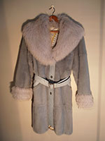 Ice blue mink coat with fox collar and cuffs