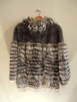 Grey mink jacket with feathered silver fox and hood - Approx size: S/M - Price: £4,290 (Ref C323)