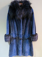 Blue/black crossed mink coat with silver fox collar