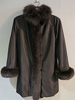 Reversible brown sheared mink coat with fox trim