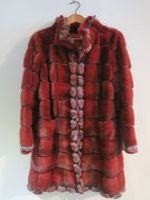 Red/black cross mink and chinchilla coat