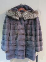 Blue/grey dual length mink jacket with drawstring