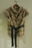 Grey mink gilet, worn with or without soft leather belt