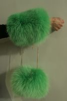 Large green elasticated Fox cuffs - Size changeable with elastic