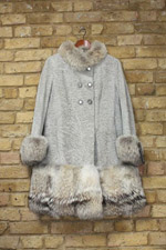 Grey/brown lamb/fox coat
