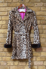 Cotton leopard print jacket with mink cuffs