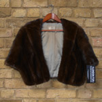 Brown mink wrap with pockets
