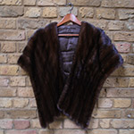 Chocolate brown mink wrap with scalloped edge