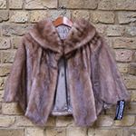 Mid brown mink cape with pockets