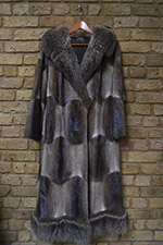Musquash coat with fox trim