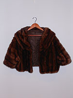 Dark brown mink cropped jacket with pockets