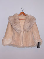 Champagne mink cape with fox trim