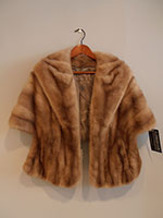 Honey mink cape with pockets
