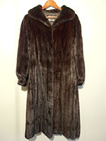 Harrods scan black mink coat (109cm)