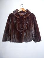 Cropped dark brown mink jacket