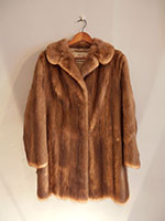 Long mid brown mink jacket (102cm)