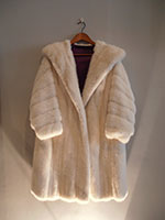 White mink semi-swing coat with new lining (118cm)