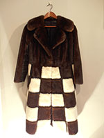 Waisted brown and off white mink coat