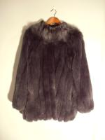 Dark blue/grey 'Saga' fox jacket - Approx size: L - Price: £650 (Ref V460)